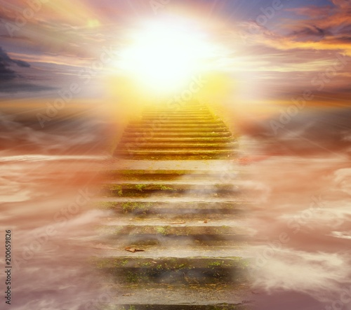 Steps leading up to the sun.  Way to God .  bright light from heaven .  Religious background  . Beautiful sky . Sunrise . Light from sky Wall mural