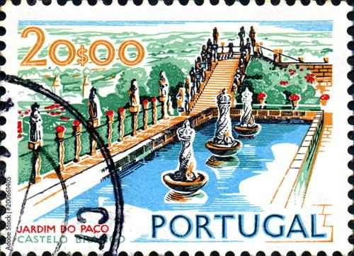 Canvastavla O Jardim do Paço  Castelo Branco. Timbre postal. Portugal