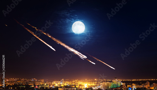 Meteor shower destroying city on earth Wallpaper Mural
