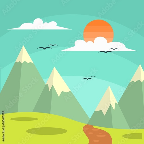 Poster Groene koraal Sunny day landscape illustration