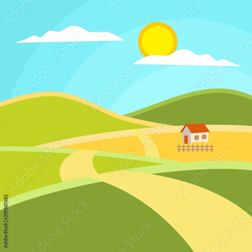Staande foto Turkoois Sunny day landscape illustration