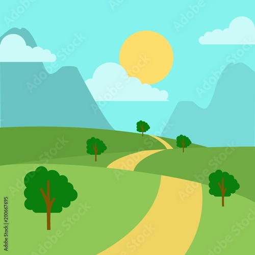 Deurstickers Lichtblauw Sunny day landscape illustration