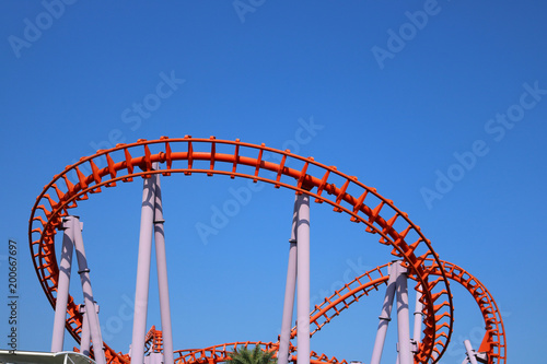 Recess Fitting Amusement Park roller coaster with blue sky