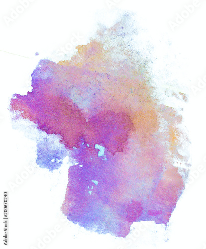 blue violet painted with a damp brush watercolor stain isolated on