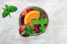 Traditional Pimms Cocktail With Lemonade, Strawberries, Cucumber
