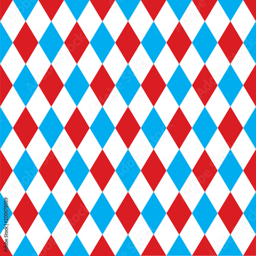 Seamless harlequin pattern background in red and blue. Wallpaper Mural