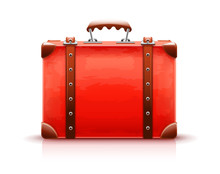 Retro Suitcase. Red Luggage Case For Travel Isolated White