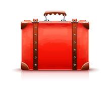 Retro Suitcase. Red Luggage Ca...