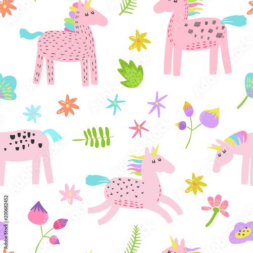 Stoffe zum Nähen Nahtlose Muster mit magischen Einhörner und tropischen Blumen. Kindliche Märchen Hintergrund für Stoff Textil, Tapete, Geschenkpapier, Dekoration. Vektor-illustration