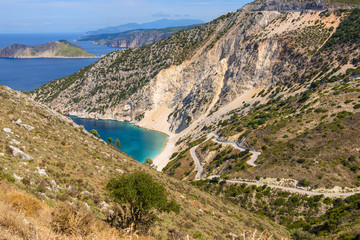 View of turquoise bay and hills on Cephalonia island, Greece