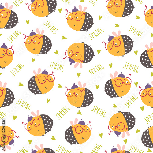 Cotton fabric Seamless funny bee pattern. Vector illustration