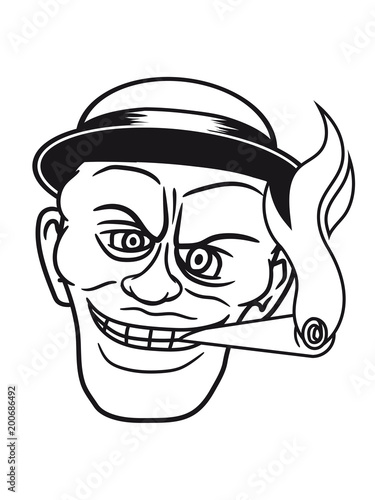 Hut Mtze 30er Zigarre Rauchen Schwarz Afrikaner Gesicht Bse Mann