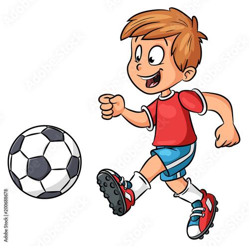 Fotografie, Obraz Junge mit Fußball - Vektor-Illustration