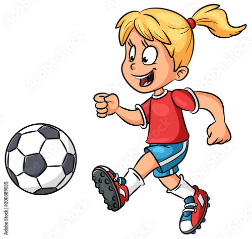Madchen Mit Fussball Vektor Illustration Buy This Stock