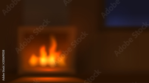 Canvas Print Blurred vector background with fireplace, home interior