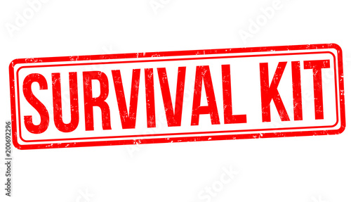 Fotografie, Obraz Survival kit grunge rubber stamp