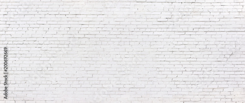 Photo sur Toile Brick wall grunge white brick wall, whitewashed brickwork background