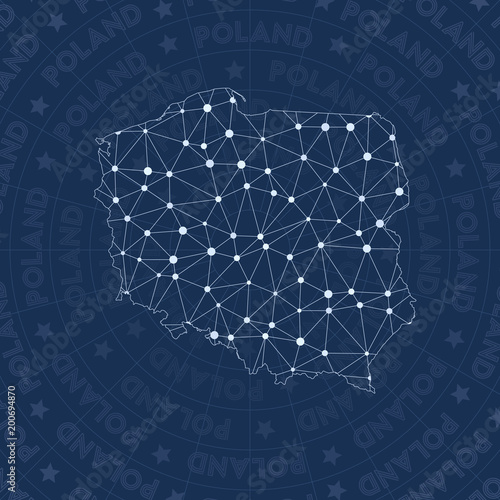 Fotografía Poland network, constellation style country map