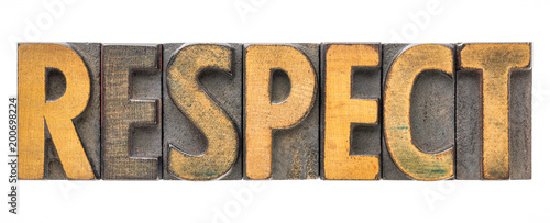 Canvas Print respect - isolated word in wood type
