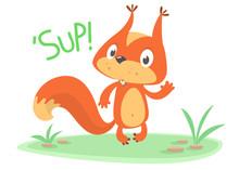 Cute Cartoon Squirrel Waving P...