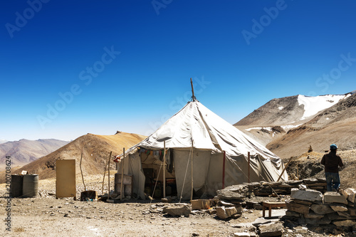 Fotografie, Obraz Fabric tent or ger at Tibetan Plateau create to hotel for traveler