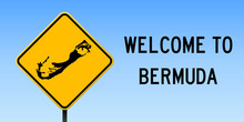 Bermuda Map On Road Sign. Wide...
