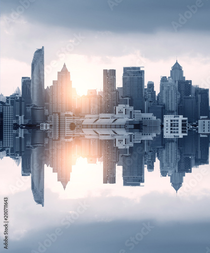 Photo  Abstract modern city skyline with sunshine.