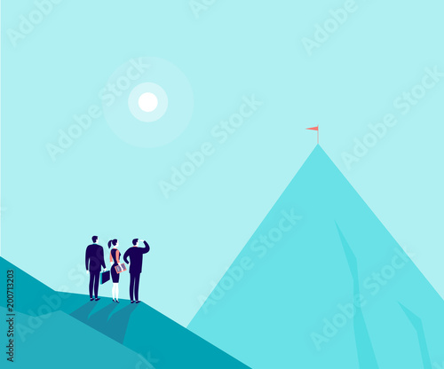 Fotobehang Lichtblauw Vector business concept illustration with businessmen, woman standing on mountain pic and watching at new top. Metaphor for growth, new aims & goals, team work & partnership, aspirations, motivation.