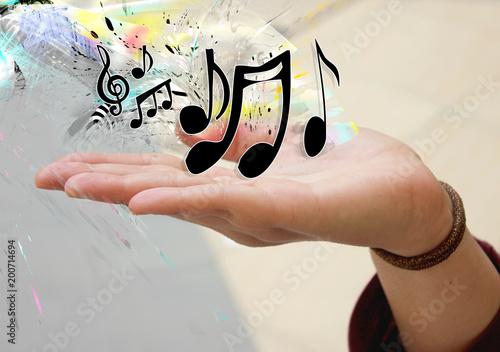 Obraz na plátně mano con note musicali