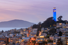 Coit Tower Lit Blue In Recogni...