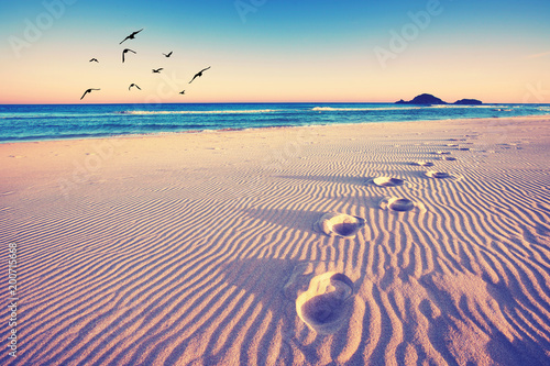 Obraz Magiczne ślady na piasku - fototapety do salonu