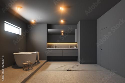Groovy Dark Gray Bathroom Interior White Tub Wood Kaufen Sie Interior Design Ideas Gresisoteloinfo