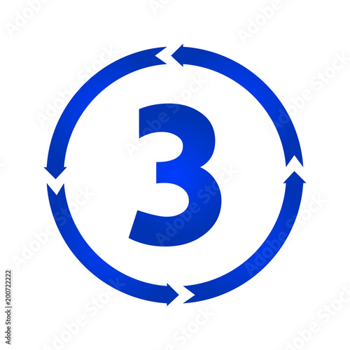 Photographie  Number 3 icon vector