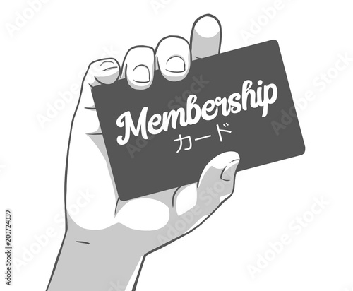 Fotografía Black and white illustration of female hand holding membership card, card writte