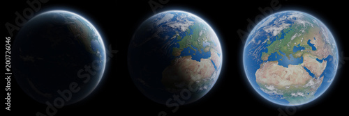 View of blue planet Earth in space collection 3D rendering elements of this image furnished by NASA