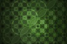 Abstract Fantasy Ornament - Fractal,  Fractal Shapes Green Fantasy Pattern, Squares And Circles