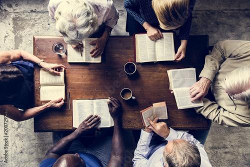 Group of people praying worship believe hope Canvas Print