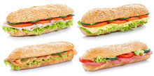 Collection Of Sub Sandwiches With Salami Ham Cheese Salmon Fish Whole Grains Isolated On White