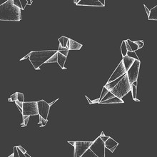 Origami - Seamless Pattern With White Paper Dogs