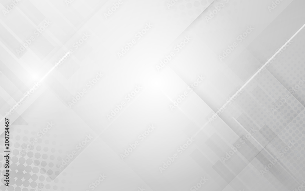 Fototapeta Abstract white and grey modern geometric shape with futuristic concept background