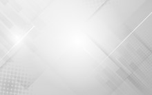 Abstract White And Grey Modern Geometric Shape With Futuristic Concept Background