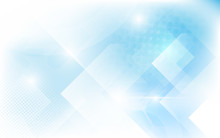 Abstract White And Soft Blue Triangles Shape. Halftone Modern Bright Art And Futuristic Concept Background
