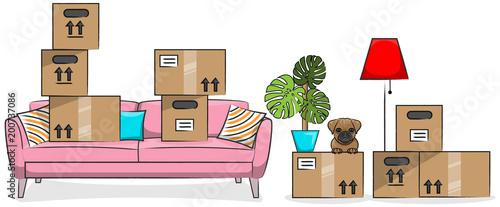 Fotografie, Obraz  Umzug Kartons mit Couch, Hund und Einrichtungsgegenständen Zeichnung isoliert