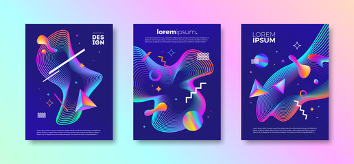 Set of cover design with abstract multicolored different shapes. Vector illustration template. Universal abstract design for covers, flyers, banners, greeting card, booklet and brochure.