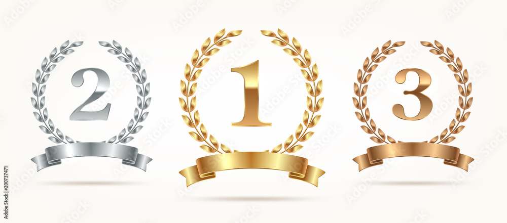 Fototapeta Set of rank emblems - gold, silver, bronze. First place, second place and third place signs with laurel wreath and ribbon. Vector illustration
