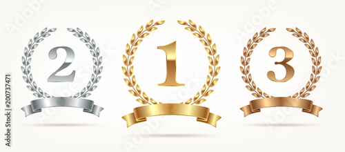 Fototapeta Set of rank emblems - gold, silver, bronze. First place, second place and third place signs with laurel wreath and ribbon. Vector illustration obraz