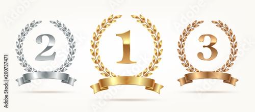 Set of rank emblems - gold, silver, bronze Fototapet