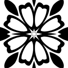 Decorative Abstraction Flower In A Black - White Colors