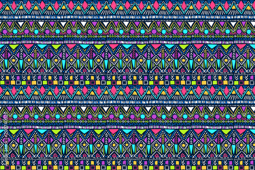 Photo sur Aluminium Style Boho Fabric pattern. Tribal ornament. Ethnic style. Embroidery effect illustration. Mexican fabric. Brazilian textile. Vector pattern for fashion design, interior or printed products.