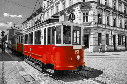 old historic tram in royal city Cracow in Poland